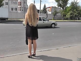 Hot upskirt with a slender blonde