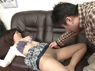 Sleepy Japanese girl stripped