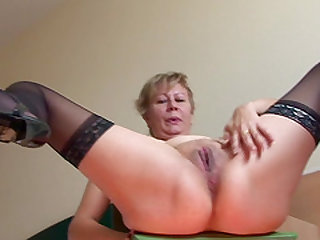 Angelina in nylon stockings screwing pussy using toy